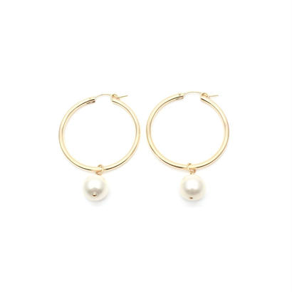 Pearl drop big hoops