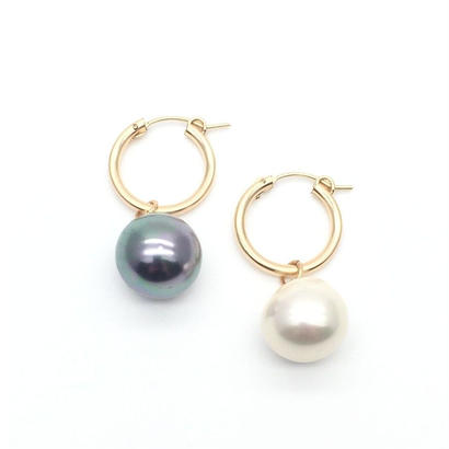 Black and white pearl hoops