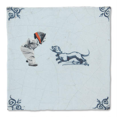StoryTiles タイル Girl with Dog 10x10