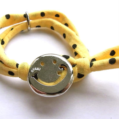 Smiley with wavy mouth Bracelet / Yellow Dot