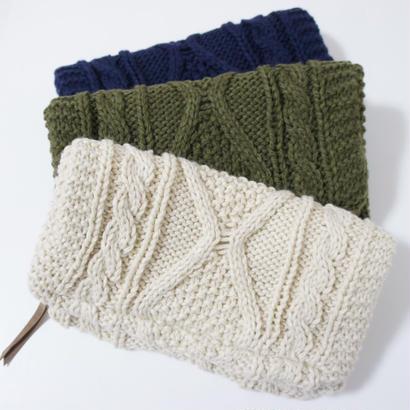 ニット編みクラッチバッグ