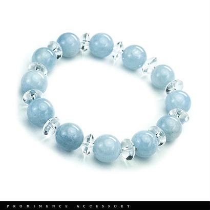 【天然石 | アクアマリン10mm・天然水晶・シンプルブレスレット】深い癒し・心身浄化・水のお護り