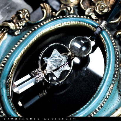 【天然石 | ヒマラヤ水晶・六芒星・マルカバスター・ポイント・ペンデュラム・シルバー925・レザーペンダント】守護・心身浄化・癒し・瞑想・パワーストーン