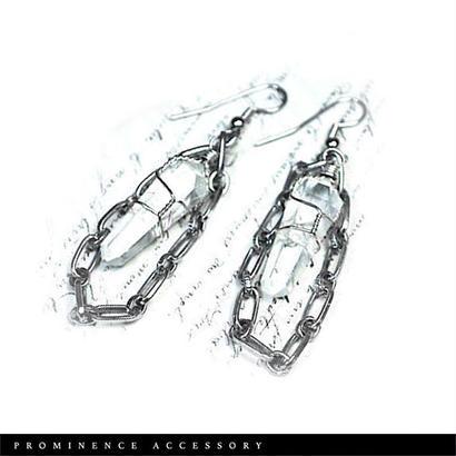 【天然石 | ポイント水晶チェーンピアス】守護・心身浄化・幸運
