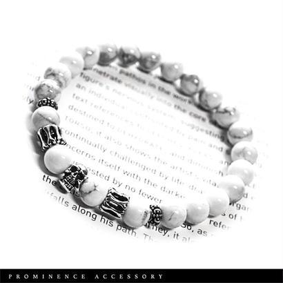 【天然石 |マグネサイト・シルバー925・スカル・シンプルブレスレット】守護・癒し・安定・疲労回復・パワーストーン