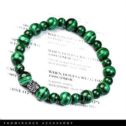 【天然石 | マラカイト・シルバー925ブレスレット】守護・邪気払い・癒し