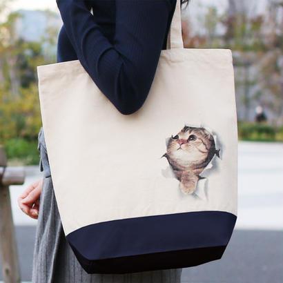 妄想マッピングトートバッグ/ 子猫 in バッグ / ネイビー(Mサイズ)