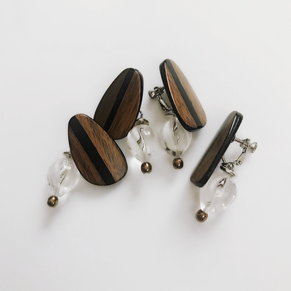 Wood line pierce/earring