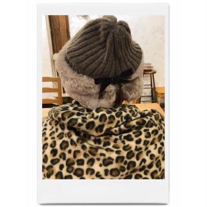 velours ribbon knit fur cap mocha brown