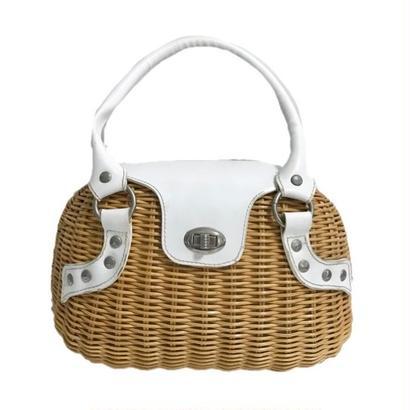 white leather basket hand bag