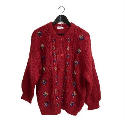 pon pon flower knit cardigan red