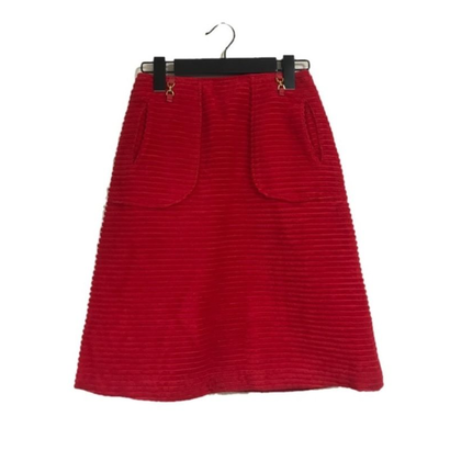 corduroy gold buckle skirt red