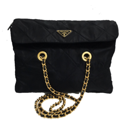PRADA nylon black chain bag