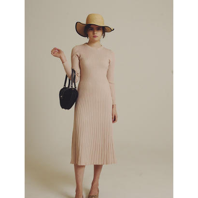 rib design knit onepiece baby pink