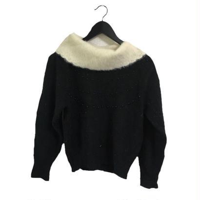mohair collar bijou  design knit