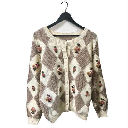 flower design vintage knit cardigan