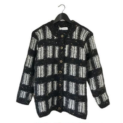 monotone  check knit cardigan