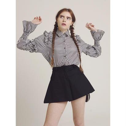 stripe frill blouse black
