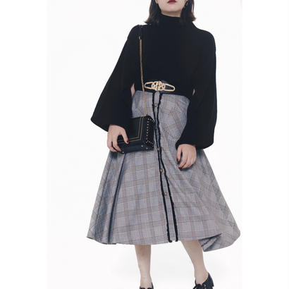 glen check fringe design flare skirt