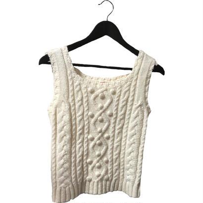 courréges ponpon design knit vest