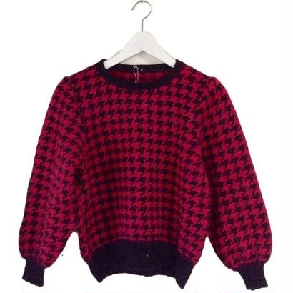 pink check design knit