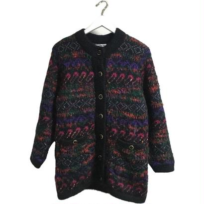 colorful design knit cardigan