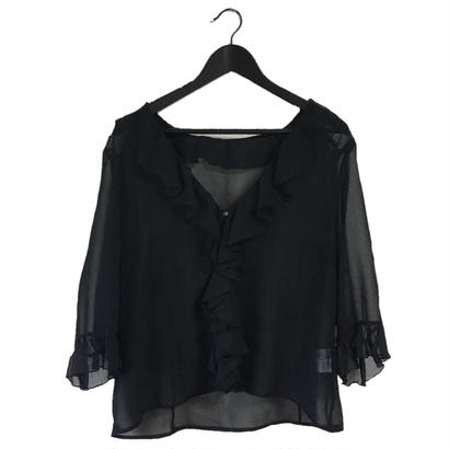 frill design see-through blouse
