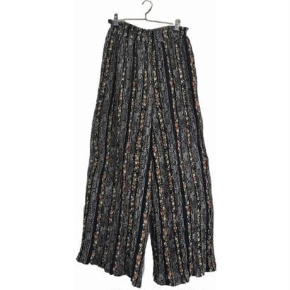 flower stripe design wide pants