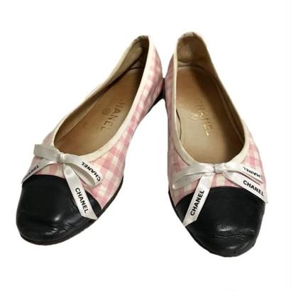 CHANEL pink gingham check  ballet shoes