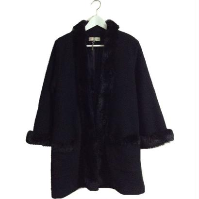 fur design coat black