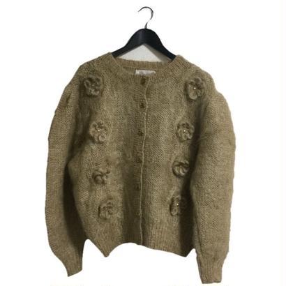 flower knit cardigan milktea beige
