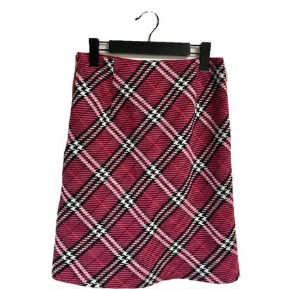 burberry tweed check skirt pink