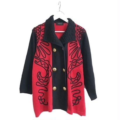 cord design bicolor knit jacket