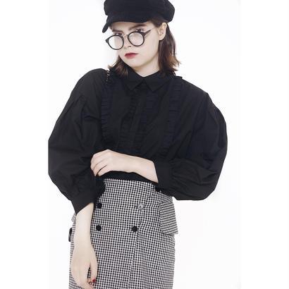 arm volume frill blouse black
