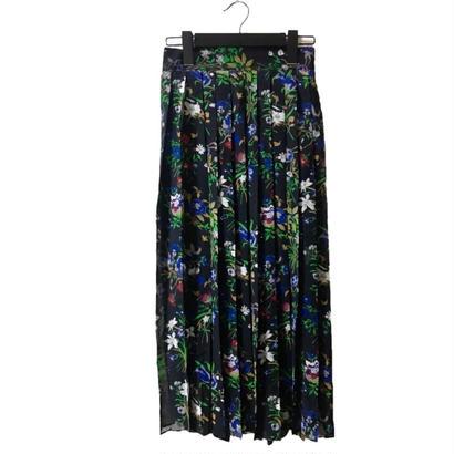 flower pleats design skirtblack