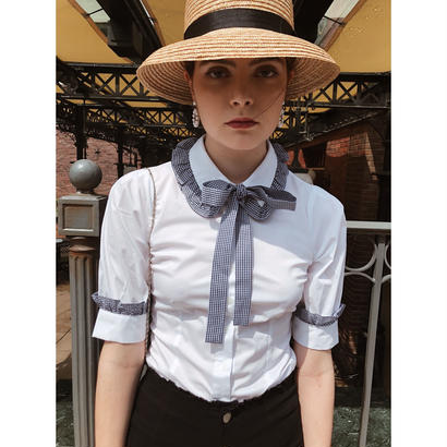 gingham frill ribbon tight blouse