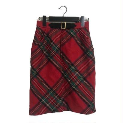 belt design wool check skirt