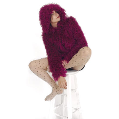 hood 2way volume fur coat pink