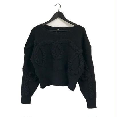 cord design knit black