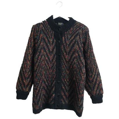 mix color design knit cardigan