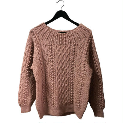 pon pon cable knit dusty pink