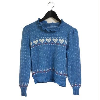 heart design knit blue
