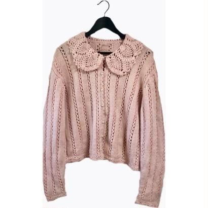 cable knit cardigan milky pink