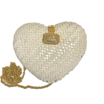 courreges heart basket chain bag white