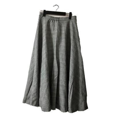 glen check design flare skirt