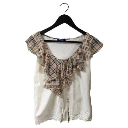 Burberry check frill collar design tops