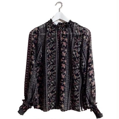 flower design see-through blouse