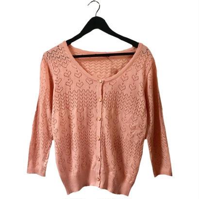 heart design knit cardigan pink