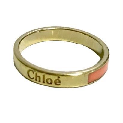 Chloé logo ring milky orange