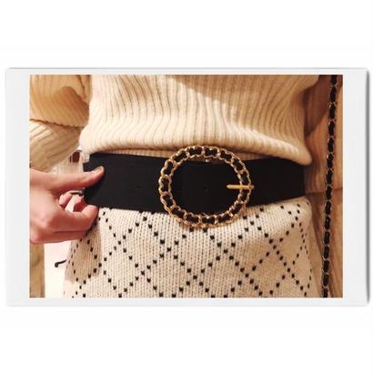 ring buckle suède belt